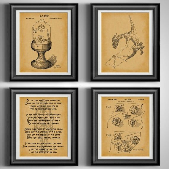 DnD Gift Dragon Poster Game Master Dragon Wall Art Retro Gaming Role Playing Dice Gamer Room Decor R