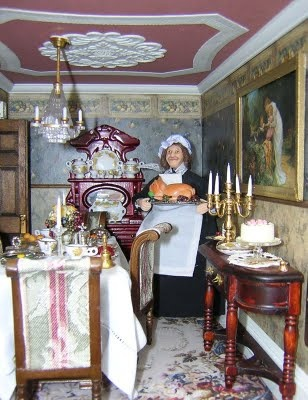 I hope that mini feast is still there by the time the guests come. I am not sure with her standing there.