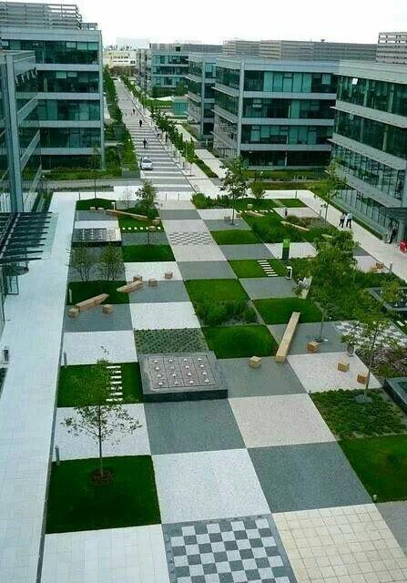 Checkerboard paving pattern urban landscapes pinterest for Checkerboard garden designs