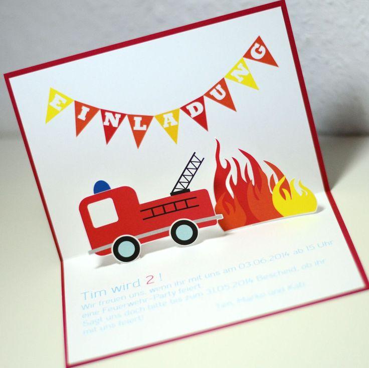 einladungskarten kindergeburtstag feuerwehr basteln
