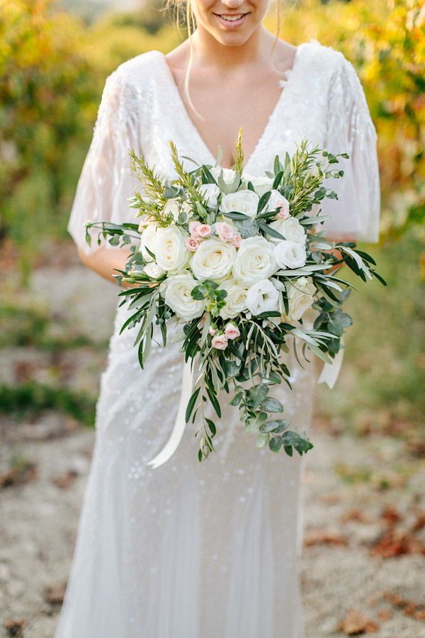 Bouquet KATIE with roses, lisianthus, eucalyptus, olive leafs, rosemary and different herbs by www.weddingincrete.com