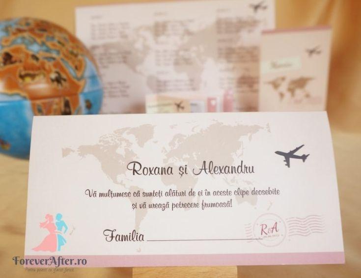 Plic de bani / place-card Travel roz potrivit pentru nunti cu tema Calatorii / Travel | ForeverAfter.ro