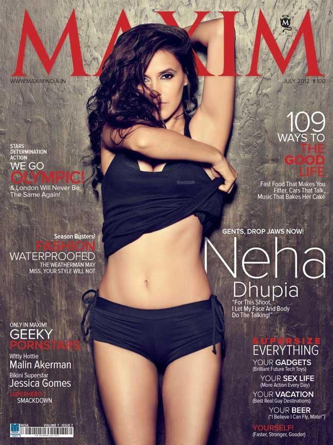 Neha Dhupia On The Cover of Maxim Magazine India June 2012. | Bollywood Cleavage