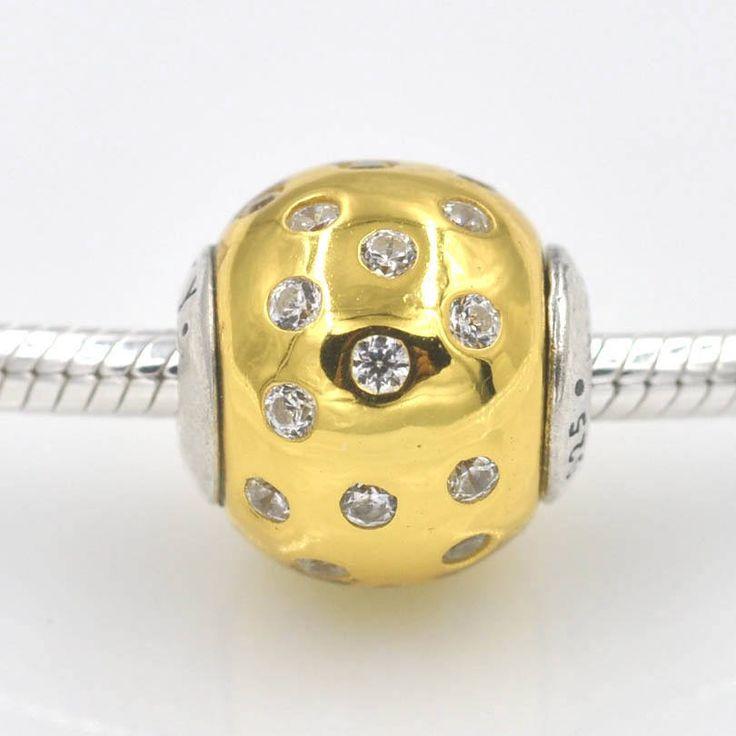 Essence Collezione DIGNITY Bead tonda in oro placcato e zirconi chiari 100% argento 925 adatta misure Pandora ESSENCE Bead Charm ST223 di OceanBijoux su Etsy