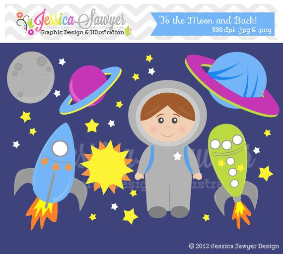 etsy - INSTANT DOWNLOAD,  space clip art - rocket ship clipart - commercial use - astronaut graphic - commercial use - sale