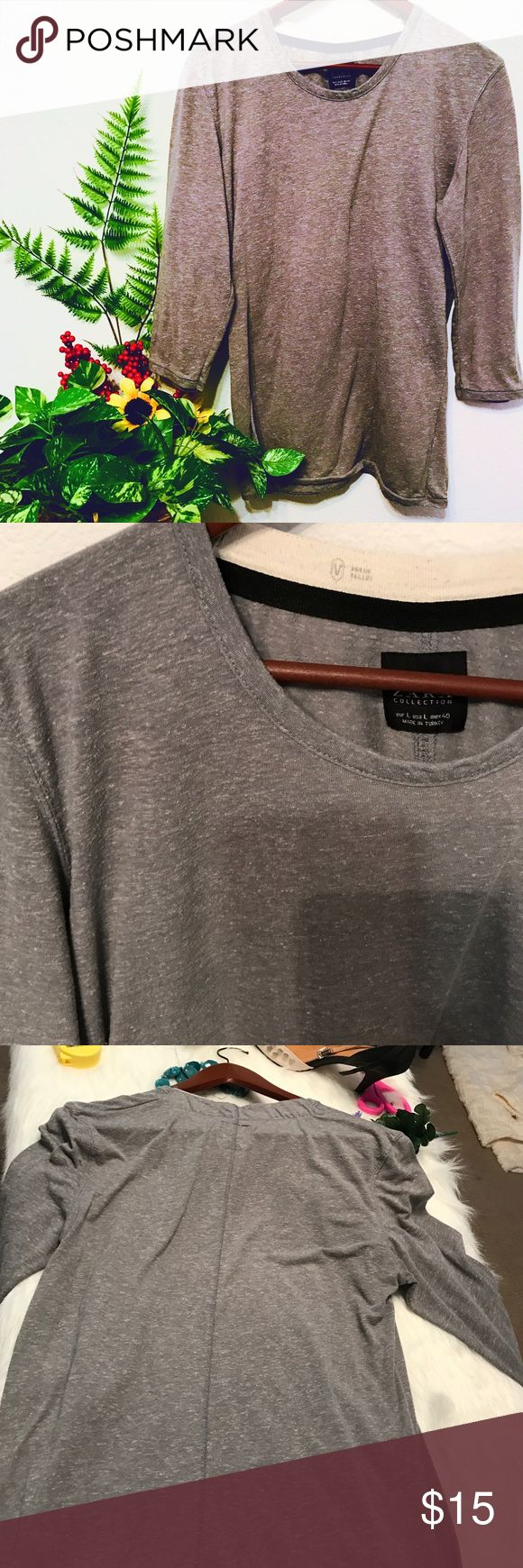 Zara top Super comfy soft material 3/4 sleeves in soft gray.  Great for lounging around😍 Zara Tops Tees - Long Sleeve