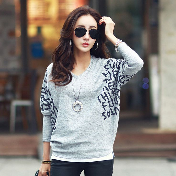 New Arrival 2017 Fashion Women's Autumn Clothing Soft Cotton Batwing Sleeve Long Sleeve T Shirts 4 Colors Loose Tops Plus Size