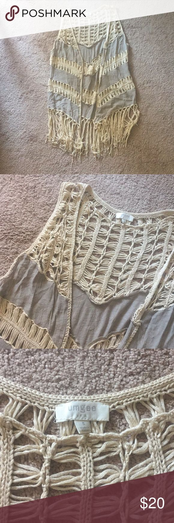 "UMGEE Fringe Crochet Sleeveless Kimono Vest Used, but excellent condition, gray-ish taupe color with off white/ beige fringe throughout, lightweight and great for layering, 60% cotton 40% polyester, bust laying flat 18"" length with fringe is 39"" Umgee Jackets & Coats Vests"