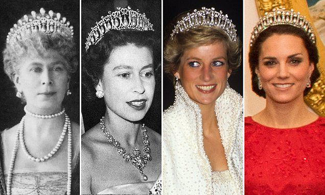 The dazzling diamond and pearl Cambridge Lover's Knot tiara was once owned by Princess Diana - andwas kept in a safe at Buckingham Palace after her death before it was handed to Kate.