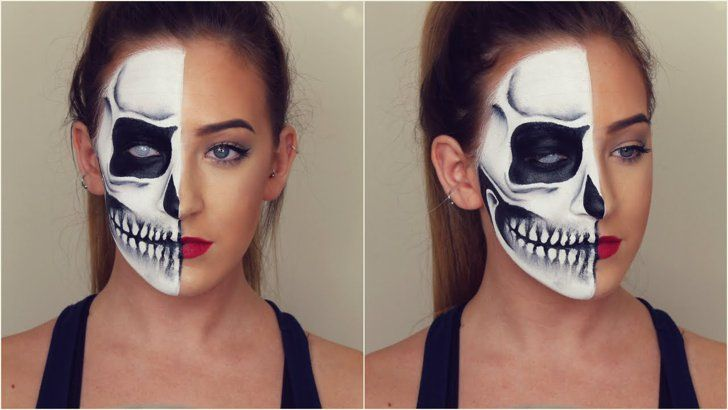 Pin for Later: 42 of the Best British Blogger Halloween Makeup Tutorials Pollyanne B — Half Skull Skeleton Tutorial