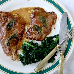 8  2-oz. veal cutlets (     from the veal top round)  Kosher salt and freshly ground pepper  16 - 24 thin slices of prosciutto  16 sage leaves  1⁄2 cup flour  4 tbsp. olive oil  8 tbsp. unsalted butter  1⁄4 cup marsala  1 cup Chicken Stock