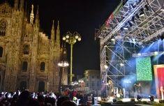 Nadia Mikushova. Italian rapper Caparezza is singing in Milan square Duomo stock photo