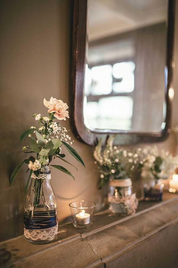 A Sweet September Wedding With A Touch of 1930's Glamour, Pom Poms, Peach, Gold and Blue