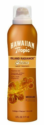 Hawaiian Tropic Y0876700 Hawaiian Tropic Island Radiance Sunless Tanning Creme Lotion by Hawaiian Tropic. $8.44. Medium. Sunless Tanning Creme Lotion. Hawaiian Tropic. A rich crème delivers flawless color building up to three shades darker. Save 11% Off!