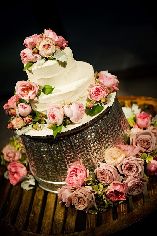 The icing on the cake - David Austins roses with a touch of green hydrangea and silver suede. Flowers and styling by Victoria Whitelaw Beautiful Flowers.