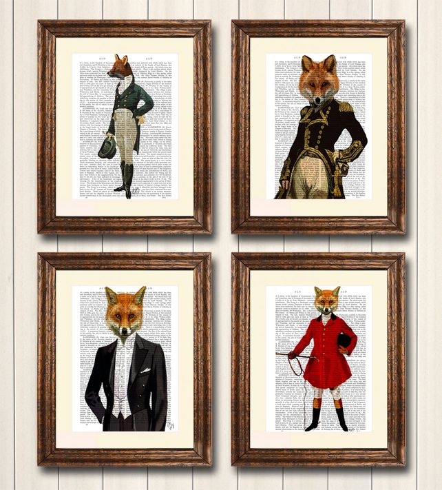 Foxy Collection - Set of four dictionary prints, fox print, fox painting £30.00