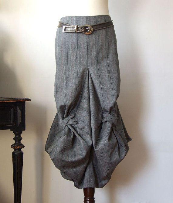 Skirt unique origami, architectural construction skirt in gray pinstripes, midi skirt, avant garde skirt, Couvert skirt