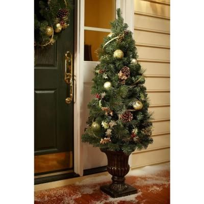 5 ft. Unlit Golden Holiday Mixed Pine Potted Artificial Christmas Tree-2258370HD - The Home Depot