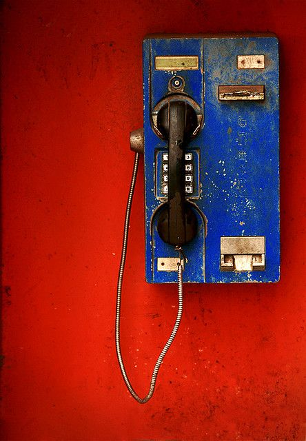 Red wall + vintage phone