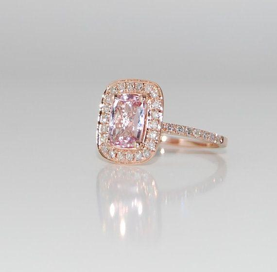13ct Cushion peach champagne sapphire in 14k rose by EidelPrecious, $1300.00