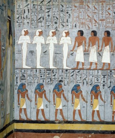 Mummies and male figures, detail from frescoes in burial chamber of Tomb of Ramesses I, Valley of Kings, Luxor, Thebes (Unesco World Heritage List, 1979), Egyptian civilization, New Kingdom, Dynasty XIX