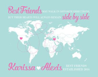 World Map, Long Distance Friends, Gift for Friend Moving Away, Pink and Blue, Foreign Exchange Student, Friend Quote | WF415
