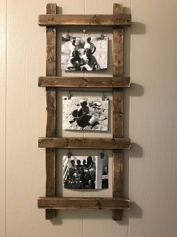 Rustic Photo Holder, Ladder Photo Holder, Ladder Decor, Rustic Decor, Farmhouse Decor, Unique Photo Holder, Photo Display, Nursery De …