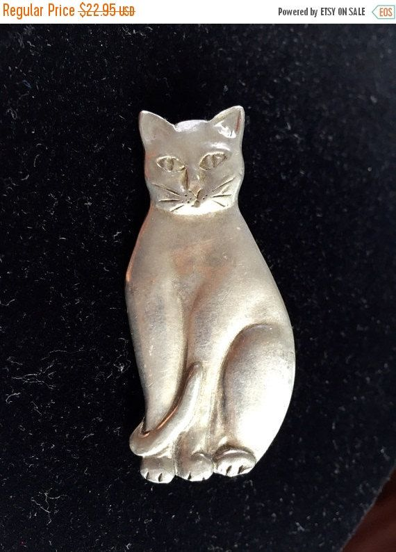 Pewter Cat Brooch Vintage Pewter Brooch Pin stamped seagull pewter canada 1985 by StudioVintage on Etsy