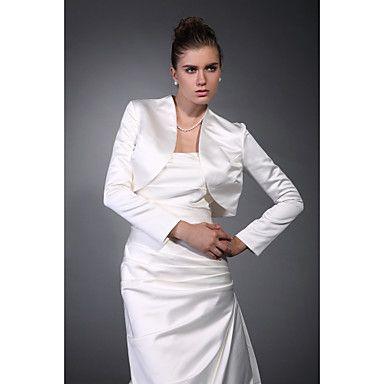 Long Sleeves Satin Bridal Jacket/ Wedding Wrap – USD $ 39.99