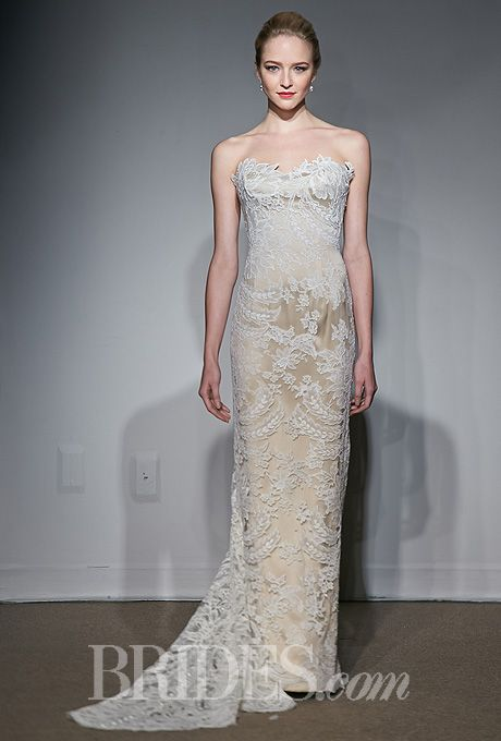 Anna Maier ~ Ulla-Maija - Fall 2014 - Abelle Gold and Ivory Sheath Wedding Dress with Lace Overlay |