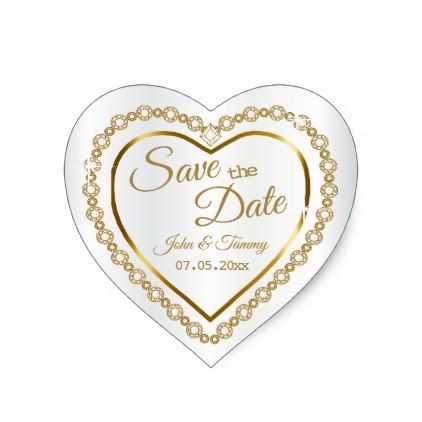 Save the Date | Elegant Gold  Diamonds Heart Sticker - gold wedding gifts customize marriage diy unique golden