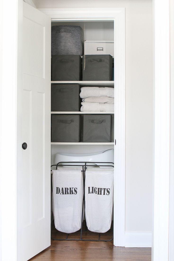 Organizing A Linen Closet With 3 Bins The Diy Playbook Cupboard Storage Bathroom Linen Closet Linen Closet Organization