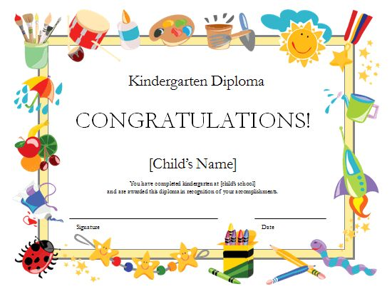I'm using this template from microsoft.com and changing it to a preschool diploma.