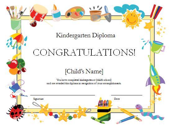 kindergarten diploma certificate - templates