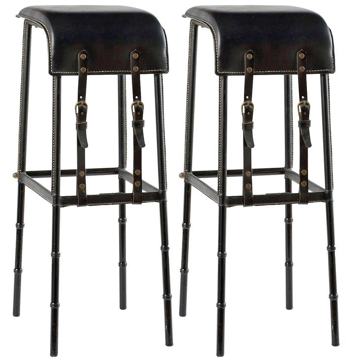 Pair of Leather Bar Stools by Jacques Adnet   From a unique collection of antique and modern stools