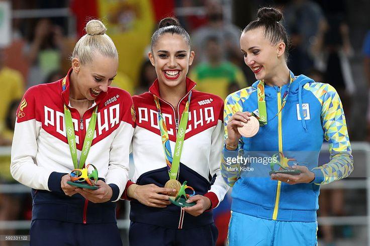 [L-R] Silver medalist Yana Kudryavtseva of Russia, gold medalist Margarita Mamun…