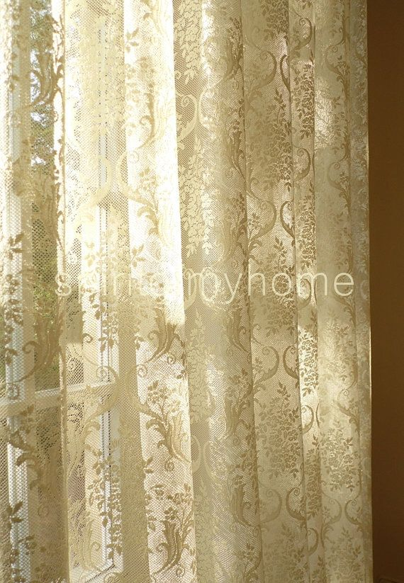 JOSÉPHINE' French Embroidered Lace Curtain Classical Style, Sheer Lace curtains sale by the yard