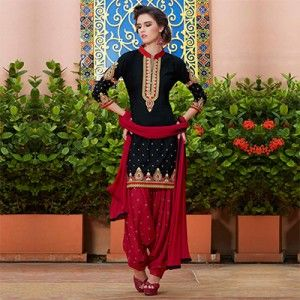Black Festive Wear Patiala Suit