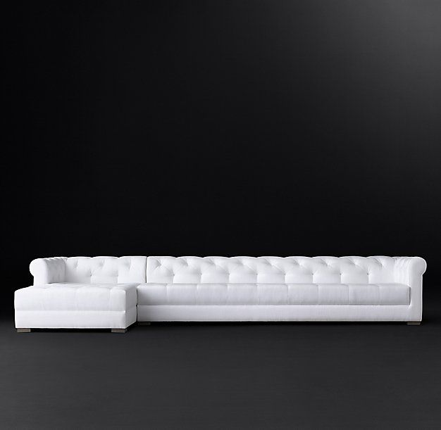 Modena Chesterfield Fabric Left-Arm Chaise Sectional