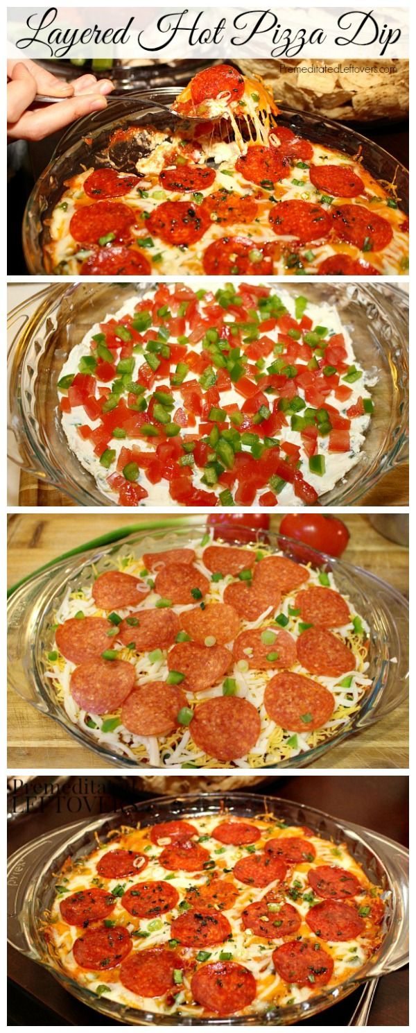Layered Hot Pizza Dip Recipe: A quick and easy recipe for hot pizza dip made with layers of pizza toppings. This dip recipe is a crowd favorite and makes a great addition to your party appetizers!