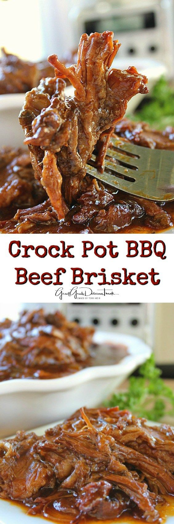 Crock Pot BBQ Beef Brisket - Super tender in the crock pot and is great to use in many different recipes.