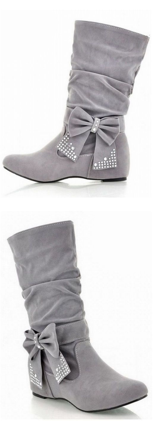 Grey Bow Boots ❤︎ L.O.V.E. - http://www.lovelywholesale.com/wholesale-fashion+round+toe+bow+tie+wedge+low+heel+slip+on+beige+short+pu+cavalier+boots-g104731.html?utm_source=pinterest&utm_medium=guru&utm_campaign=pinaholicmyrie