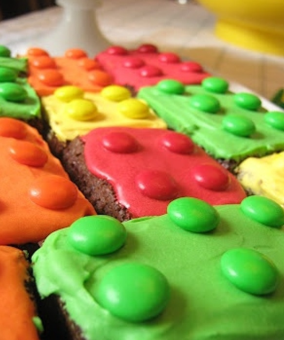 Lego brownies with M&Ms on top!