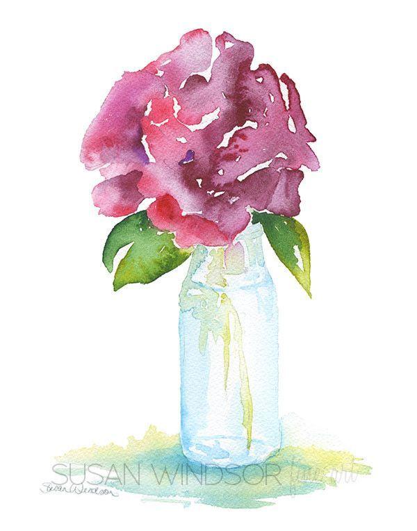 Rose in a Glass Vase Watercolor – Susan Windsor
