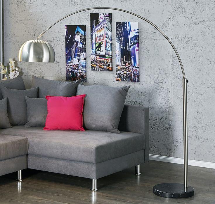 Booglamp vloerlamp big lounge brushed lampen retro for Aparte lampen