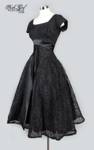1950's Black Lace Tea Length Evening Dress by rosalie