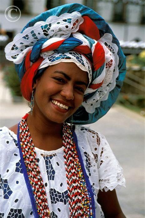 "Woman in traditional dress. Salvador da Bahia. Brazil.....""She is so pretty & I love the colors"""