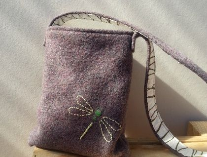 Kid's Foraging Bag Recycled wool and hand embroidery. SOLD  https://cherryberry.felt.co.nz