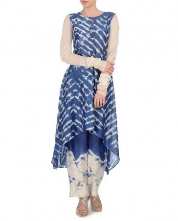KRISHNA MEHTA: Indigo Tie and Dye Kurta Set
