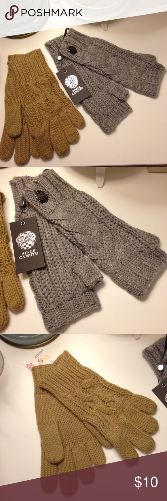Vince Camuto Fingerless Gloves & Bonus Pair! Two pairs of cable knit gloves. The light grey are Vince camuto, new with tags, mid arm, & fingerless. The camel or tan colored are also new with tags, not Vince camuto, full finger, mid wrist. Both very comfy & cute but I have tons of gloves! Vince Camuto Accessories Gloves & Mittens